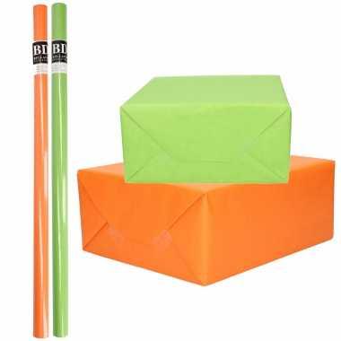 4x rollen kraft inpakpapier pakket oranje/groen st.patricksday/ierland 200 x 70 cm