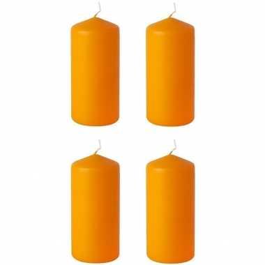 4x stuks oranje stompkaarsen 15 cm 45 branduren