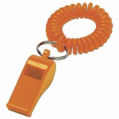 4x voordelig oranje fluitje aan polsband