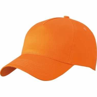 5 panel baseball cap oranje dames en heren
