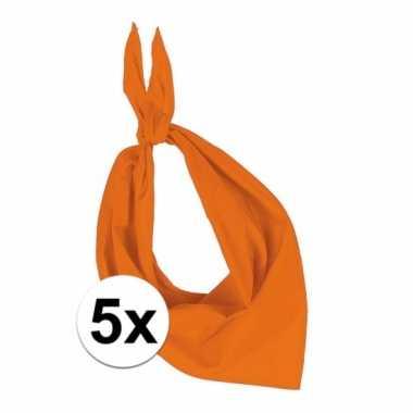 5 stuks oranje hals zakdoeken bandana style
