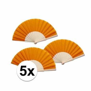 5 stuks oranje waaier van hout