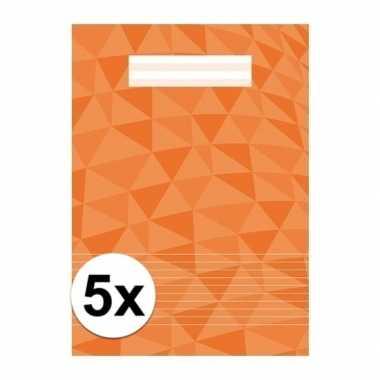 5 x schoolspullen schrift a4 gelinieerd oranje