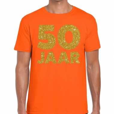 50 jaar fun jubileum t-shirt oranje met goud voor heren