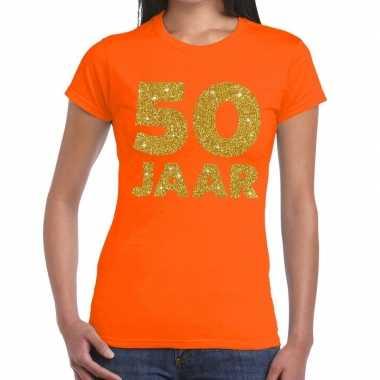 50e verjaardag cadeau t-shirt oranje met goud voor dames