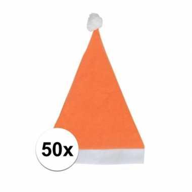 50x oranje budget kerstmuts voor volwassenen