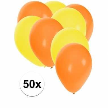 50x oranje en gele ballonnen