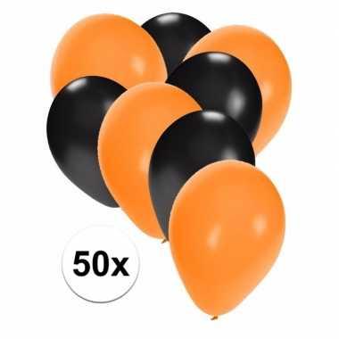 50x oranje en zwarte ballonnen