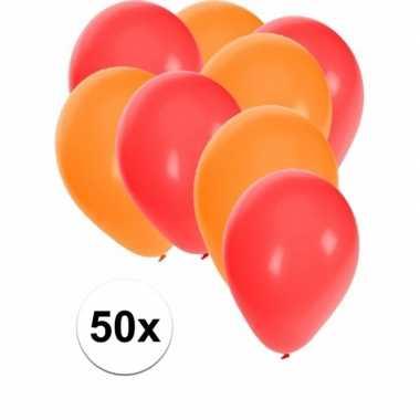 50x rode en oranje ballonnen