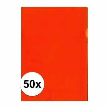 50x tekeningen opbergmap a4 oranje