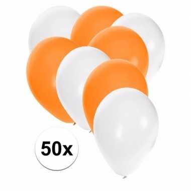 50x witte en oranje ballonnen