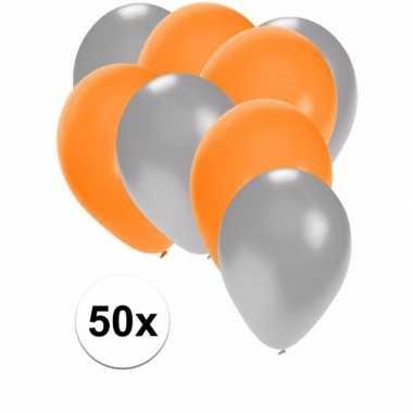 50x zilveren en oranje ballonnen