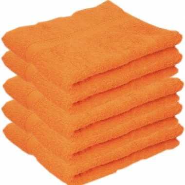 5x badkamer/douche handdoeken oranje 50 x 90 cm