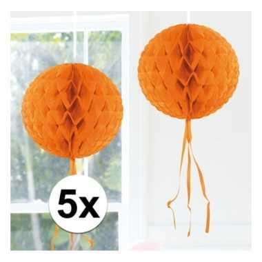 5x honeycomb ballen oranje 30 cm