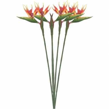 5x nep planten oranje/gele strelitzia paradijsvogelbloem kunstbloemen