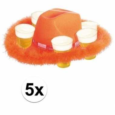 5x oranje bier hoed met bont