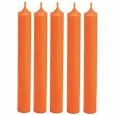 5x oranje diner kaars 18 cm 7 branduren