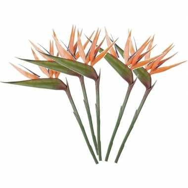 5x oranje kunst strelitzia/paradijsvogelbloem kunstbloemen 90 cm deco