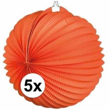 5x oranje lampionnen bolvormig