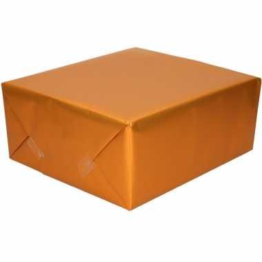 5x rollen verjaardag kadopapier unikleur oranje 150 x 70 cm met luxe zijdeglans afwerking