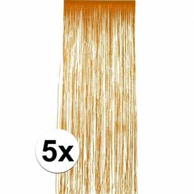 5x stuks oranje folie deurgordijnen van 2 x 1 meter