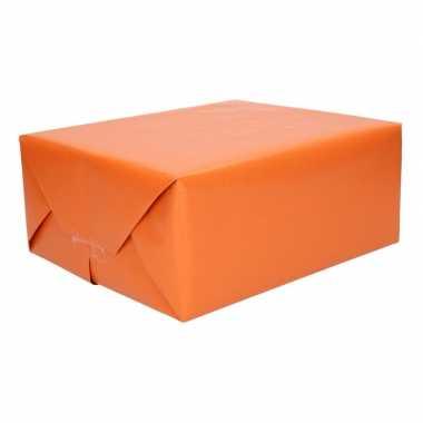 5x stuks rollen donker oranje kraftpapier/inpakpapier 70 x 200 cm