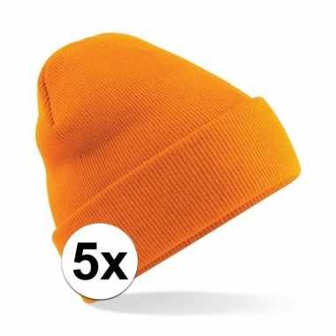 5x warme gebreide muts in het oranje
