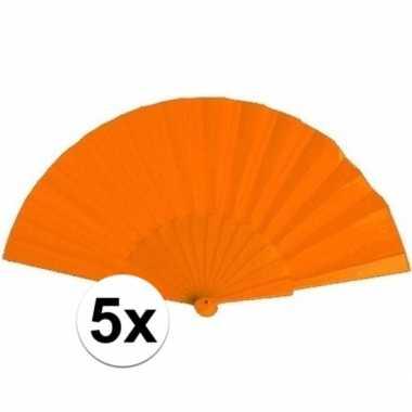 5x zomerse waaiers oranje 23 cm