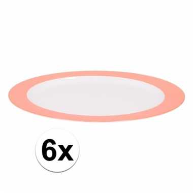 6 ontbijtborden melamine wit met oranje rand