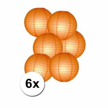 6 oranje lampionnen van papier 25 cm