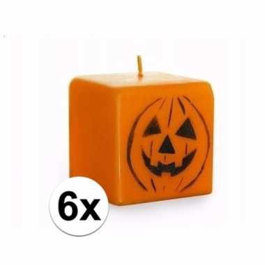 6 vierkante pompoen kaarsen oranje