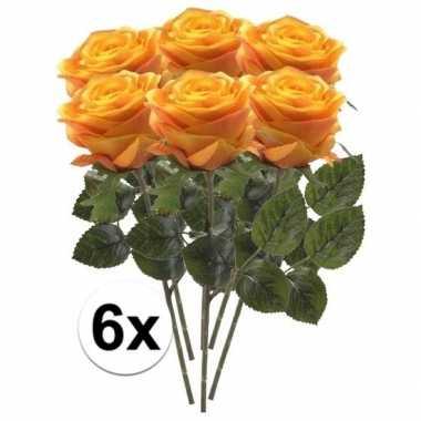 6 x kunstbloemen steelbloem geel/oranje roos simone 45 cm