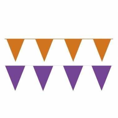 60 meter oranje/paarse buitenvlaggetjes