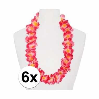 6x hawaii ketting/kransen/ krans roze/oranje