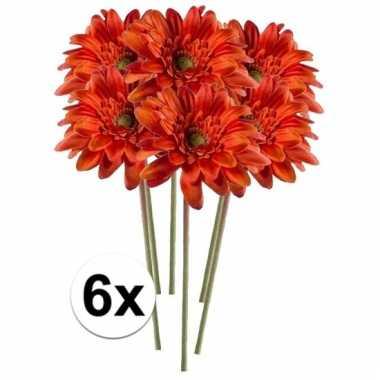 6x kunstbloemen steelbloem oranje gerbera 47 cm.