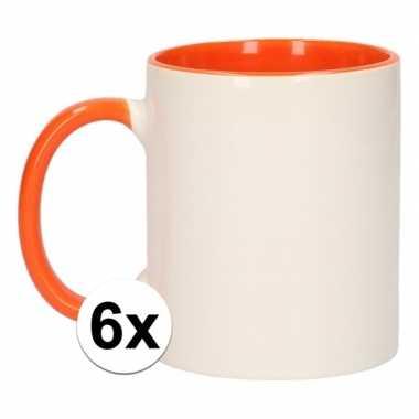 6x onbedrukte mokken wit/oranje