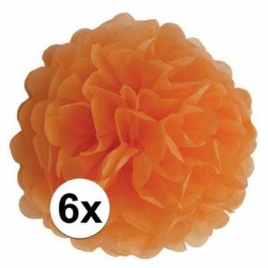 6x oranje decoratie pompoms 35 cm