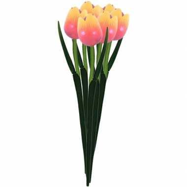 6x oranje decoratie tulpjes 35 cm van hout