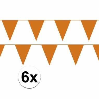6x oranje plastic slingers 60 meter