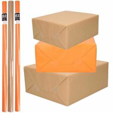 6x rollen kraft inpakpapier/kaftpapier pakket bruin/oranje 200 x 70 cm