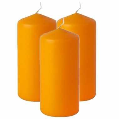 6x stuks oranje stompkaarsen 15 cm 45 branduren
