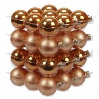 72x oranje glazen kerstballen 4 cm mat/glans
