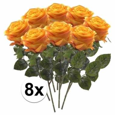 8 x kunstbloemen steelbloem geel/oranje roos simone 45 cm