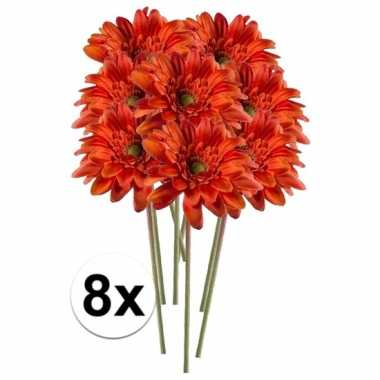 8x kunstbloemen steelbloem oranje gerbera 47 cm.