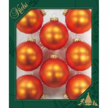 8x oranje matte kerstboomversiering kerstballen van glas 7 cm