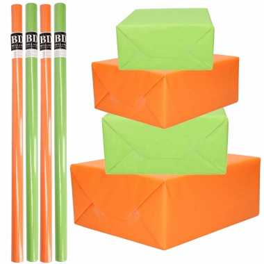 8x rollen kraft inpakpapier pakket oranje/groen st.patricksday/ierland 200 x 70 cm