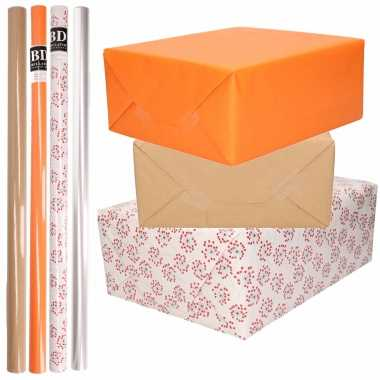 8x rollen transparant folie/inpakpapier pakket - oranje/bruin/wit met hartjes 200 x 70 cm