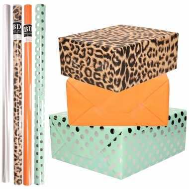 8x rollen transparante folie/inpakpapier pakket-panterprint/oranje/mintgroen met stippen 200 x 70 cm