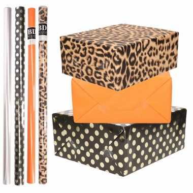 8x rollen transparante folie/inpakpapier pakket - panterprint/oranje/zwart met stippen 200 x 70 cm