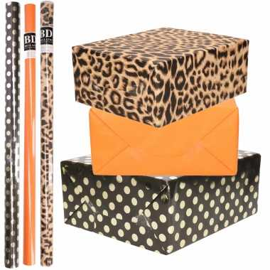 9x rollen kraft inpakpapier/folie pakket - panterprint/oranje/zwart met gouden stippen 200x70 cm